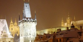 Fresh snow on Old Town Prague